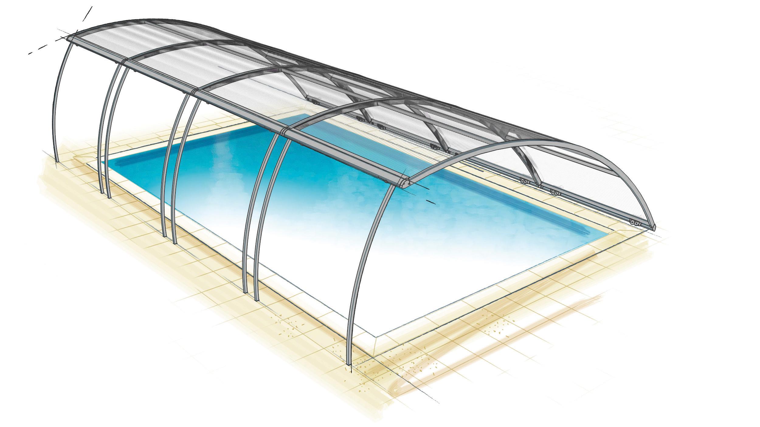 cubierta de piscina amovible curvada de Azenco