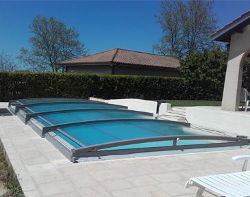 abri de piscine plat bas