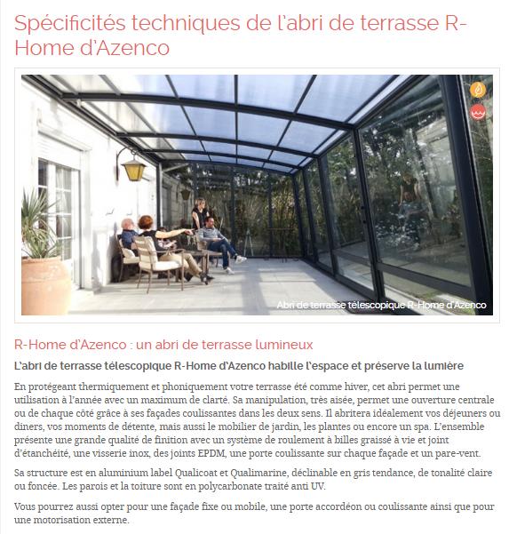 Spécificités techniques de l'abri de terrasse R-Home d'Azenco