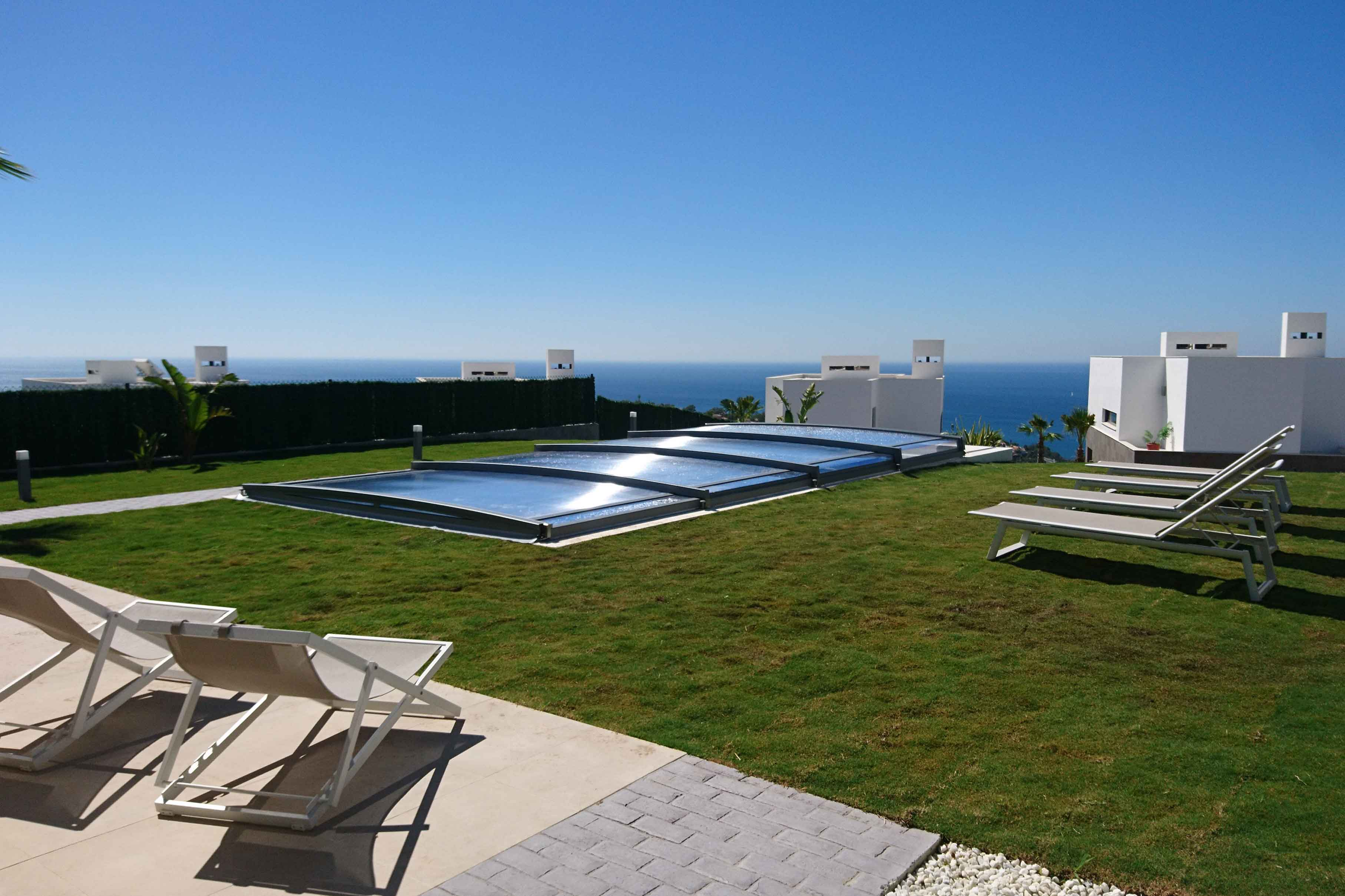 cubierta de piscina telescopica ultra baja Neo Smart Azenco